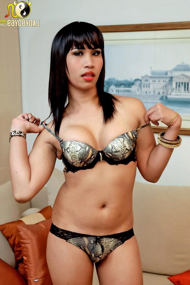 Транссексуал в соблазнительном белье умостился на лежанке порнофото